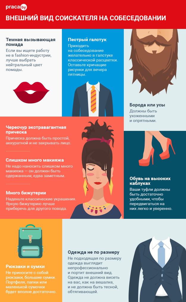 Инфографика внешний вид соискателя на собеседовании