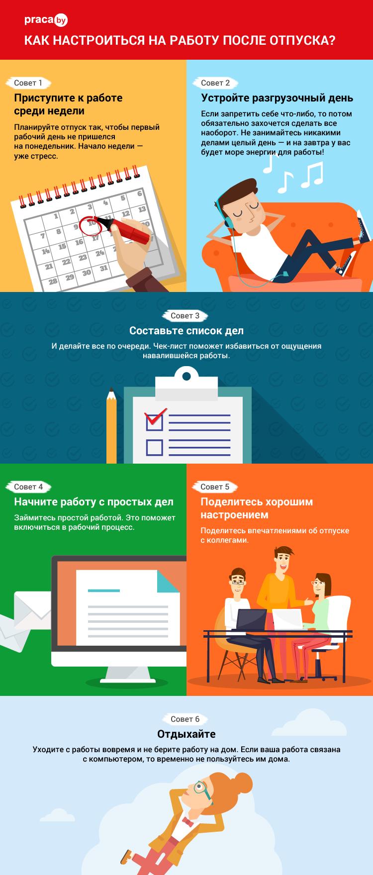 Инфографика: как настроиться на работу после отпуска